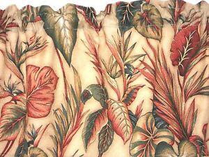 PAIR Tropical Hawaiian Cotton Barkcloth Fabric CAFE' CURTAINS ~Copa Cabana~