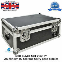 "7"" Vinyl Record Aluminium DJ Flight Storage Carry Case Black Holds 500 Tough Box"