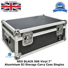 "7"" Vinyl Record Aluminium DJ Flight Storage Carry Case Black Holds 500 Tough Box"