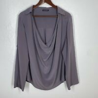 Eileen Fisher Purple Long Sleeve Blouse Draped Neck Collar Size L/XL 100% Silk
