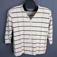 Christopher & Banks Sweater Size Medium Tan Black Womens Striped Cardigan