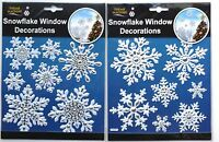 2xWhite Elegant Snowflake Window Clings Reusable Stickers Christmas Decorations