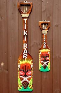 Tiki Bar Sign Oar Decoration Hand Carved Painted Garden Pub Paddle accessories