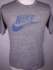True Vintage NIKE Heather Gray Tri Blend Paper Thin 80s Swoosh T Shirt - Size XL