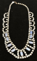 Vintage Unusual Blue Swirl  Art Glass & Rhinestone Mini-Bib Necklace