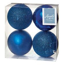Décoration Sapin de Noël - 4 Paquet 100mm Boules - Bleu Nuit