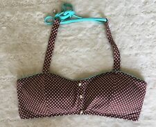 Coco Rave Polka Dot Bikini Top Brown Aqua Trim Swim M/L C Cup Pin Up