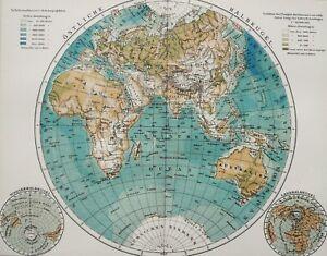 1895 Antique WORLD MAP of Europe, Africa, Asia, Oceania. Mappa Mundi. 126 years
