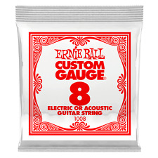 Ernie Ball .008 Plain Steel Electric or Acoustic Guitar String 6 pack 1008