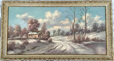 L. Devri Original Painting On Canvas 1966 Winter Scene Large