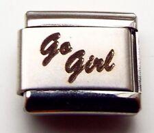 Go Girl laser 9mm stainless steel italian charm bracelet link new