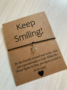 ⭐️ Keep Smiling Friendship Wish bracelet. Star Charm Present Gift Quote⭐️