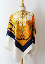 HERMES EPERON D'OR PONCHO ORANGE SILK SCARF CAPE WRAP NEW