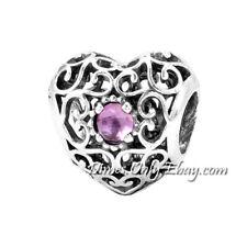 Authentic Pandora February Signature Heart Birthstone 791784SAM Charm