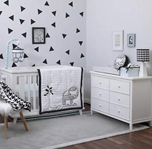 Deluxe NoJo 4 piece Crib Bedding Set Roar Lion Black White Aqua
