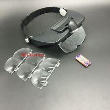 Dental Loupe LED Head Light Loupe w/ 4 Lenses Light Glass Salon Magnifier