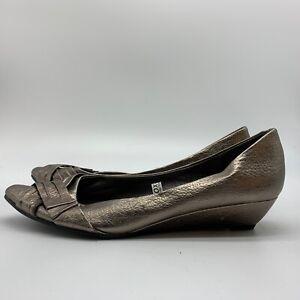 Xhilaration Womens Pewter Metallic Silver Low Wedge Ballet Flat Heels, Size 8M