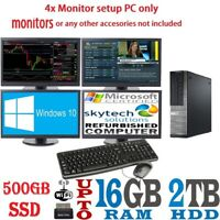 Fast Trading PC Core i3 Quad 4 Monitor Desktop Computer Dell/HP 16GB 2TB Win10