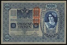 a377 AUSTRIA 1000 KRONEN 1902 P#59 BANKNOTE ÖSTERREICH RED OVPT. aUNC