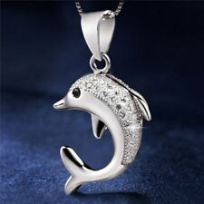 Plated Infinite Lovely Crystal Encrusted Necklace Dolphin Pendant Jewelry