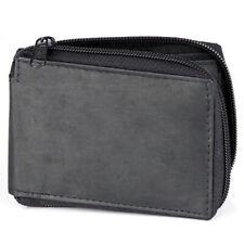 Mens Bifold Zipper Around Genuine Leather Wallet Id Window Credit Card Billfold