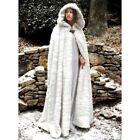 Women Hooded Cape Faux Fur Loose Long Cloak Shawl Mantle Cardigans Coats Outwear