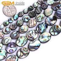 "Natural Rainbow Abalone Shell Oval Flatback Beads For Jewellery Making 15"" UK"