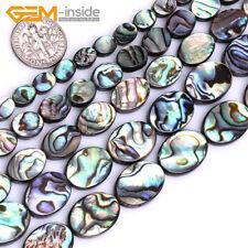 "Natural Rainbow Abalone Shell Oval Flatback Beads For Jewellery Making 15"" UK"
