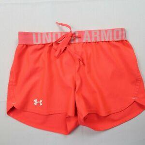 Under Armour Women's Size XS Running Shorts Orange Loose Fit Heatgear
