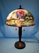 """Thomas Kinkade """"A New Day Dawning"""" Reverse Painted Table Lamp, Free Shipping"""