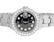 Ladies Stainless Steel 26MM Rolex Datejust Oyster Black Dial Diamond Watch 2.5Ct