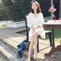 Korean Fashion Women A-line Dress High Waist Slim V-neck Lace Solid Mini XS