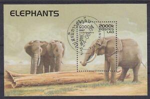 Elephant Elefants Laos Block 1997, Postmarked, Used