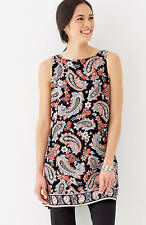 J. Jill - 4X(Plus) -Great Black Retro Paisley Layered Dipped-Hem Tunic