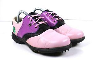 Foot Joy Women's Dry Joys Golf Shoes Pink Purple Lace Up Oxfords Sz 9