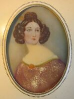 ANTIQUE  MINIATURE PAINTING PORTRAIT OF LADY ON CELLULOID