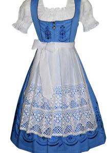 3 Pcs German Dirndl Women Dress Waitress Oktoberfest Blue LONG Party EMBROIDERED