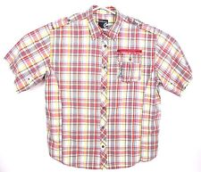 Ecko Unltd Unlimited Mens 4XL S/S Button Up Shirt Embroidered Plaid Checks GUC
