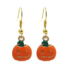 Handmade Enamel Plated Metal Halloween Pumpkin Charm Dangle Wire Hooks Earrings