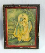 Antique Old Collectible Beautiful Hindu God Krishna & Goddess Radha Litho Print