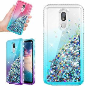 For LG Stylo 6 | Stylo 5 | 5 Plus Liquid Glitter Rubber Clear Phone Case Cover