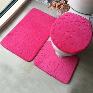 3PC Soft Bathroom Set Bath Absorbent Mat Contour Rug Toilet Lid Cover New styles