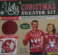 Ugly Christmas Sweater Kit Unisex Large Red Knit White Felt Special Edition