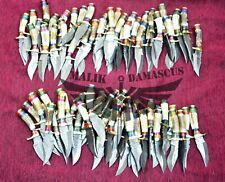 Damascus knives Stag handle Handmade knives Skinning Hunting Knives lot of 50