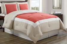 3-Piece Coral / Light Grey / White Color Block Duvet Cover set, King size