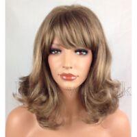 LMJF631 newest health wigs style curly dark blonde mix hair medium wavy bang wig
