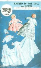 """Doll Clothes Knitting Pattern For 10"""" Doll & 7 Piece Layette Knitting Pattern"""