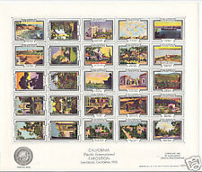 POSTER STAMPS U.S. 1935 CALIFORNIA EXPO SHEET (25)