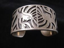Vintage Taxco Mexico Heavy Sterling Signed Gemini Twins Bracelet