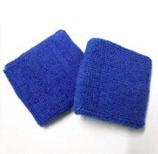 2 x Blue Wrist Sweatbands Athletic Band Sports Stretchy Wristbands Yoga Running